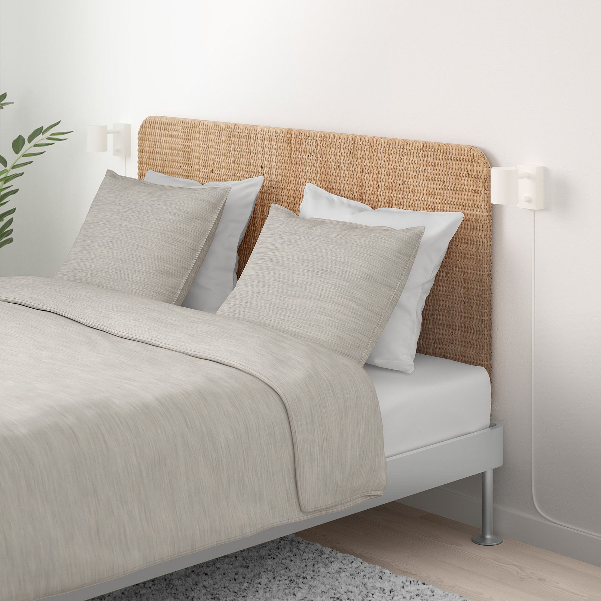 Delaktig Bed Frame With Headboard Aluminum Rattan Queen Bed