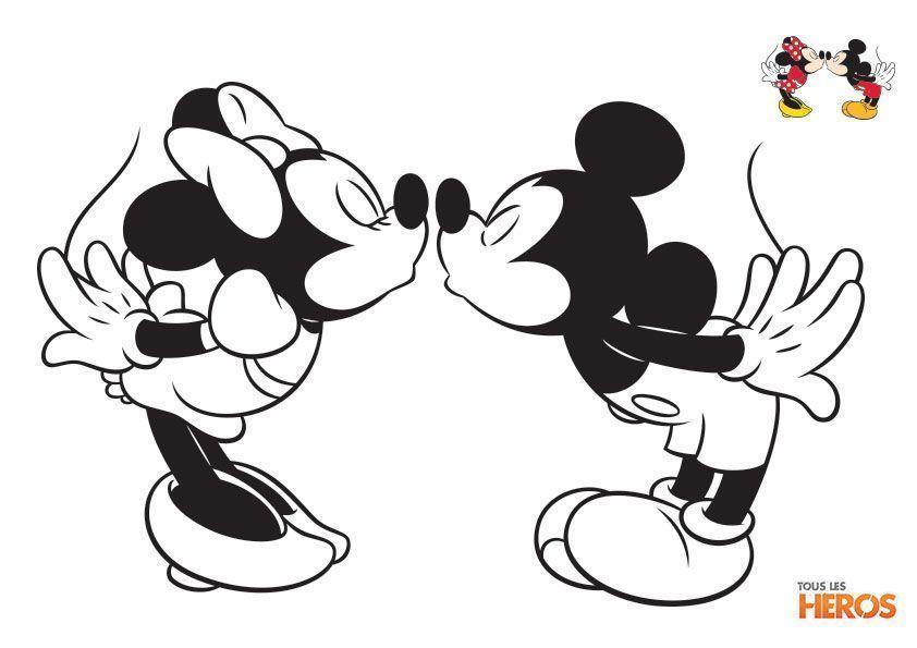 Coloriage Mickey Et Minnie Minnie Desenho Bonequinhas Kawaii
