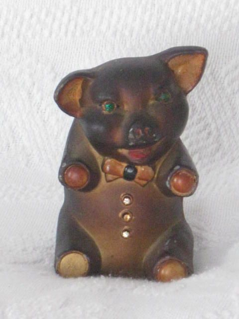 Metal Piggy Bank with Green stone eyes and Bow by jonscreations