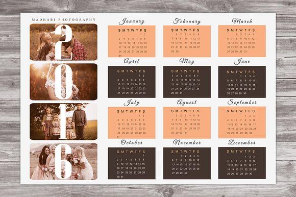 2016 Wall Calendar Template CA01 @creativework247 Stationery