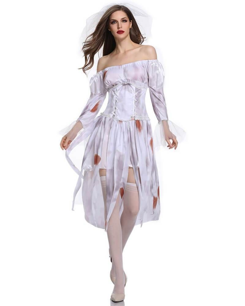 Women Halloween Costume Fancy Dress Adult Bride Zombie Outfits Ghost Cosplay