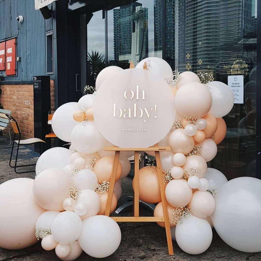 """THE EVENT COLLECTIVE ✖️ (@theeventcollectivex) posted on Instagram: """"O H  B A B Y!!! Obsessed with these neutral colours by @moonshotballoons  Sign @sketchandetchcreative Styling @reenybob…"""" • Sep 2, 2019 at 9:21am UTC"""