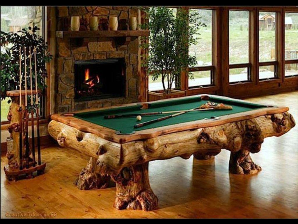 Beautiful Log pool table. Pool table, Custom pool tables