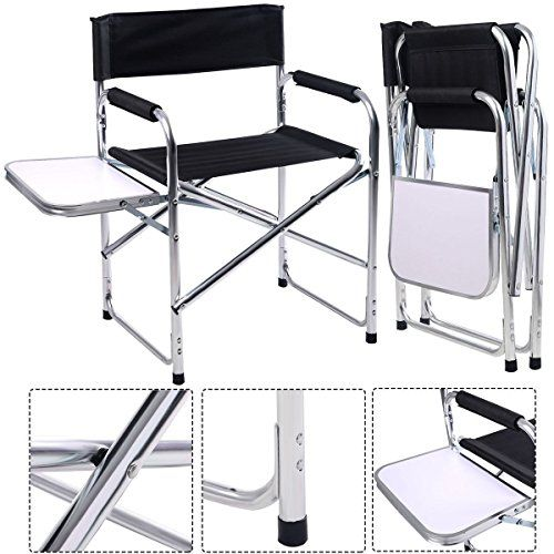Outdoor Folding Chair With Side Table Covers Gretna Green Aluminum Director S Camping Traveling