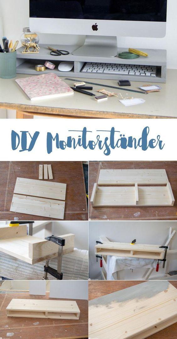 Anleitung Monitorständer Selbermachen - DIY Möbel bauen - mehr Ordnung am Arbeitsplatz - Monitorständer mit Fächern für Tastatur und Co. #diymöbel #diymitholz #ordnung