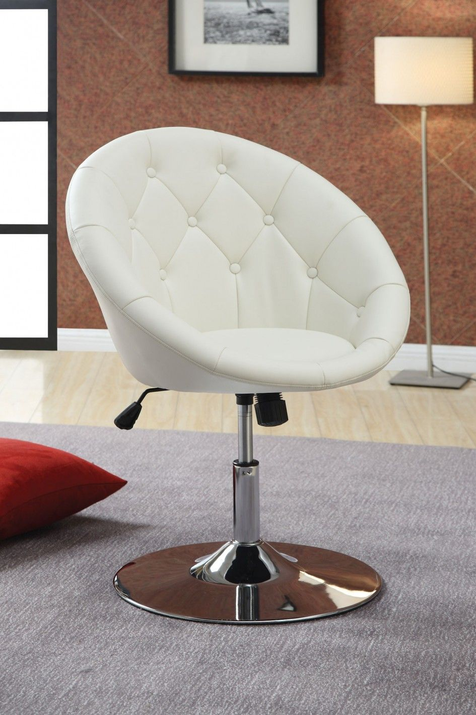 Modern Uphosltered White Leather Swivel Desk Chair With Tufted Back And Chrome Finish Round Metal Base