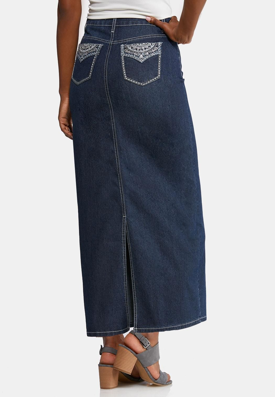 a39c8df2b Plus Size Bling Pocket Denim Maxi Skirt Skirts Cato Fashions in 2019 ...