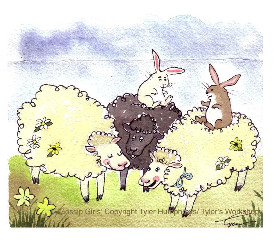 Funny Sheep & Bunny Rabbit Greeting Card - Animals Watercolor Painting Illustration Print 'Gossip Girls'. $3.50, via Etsy.