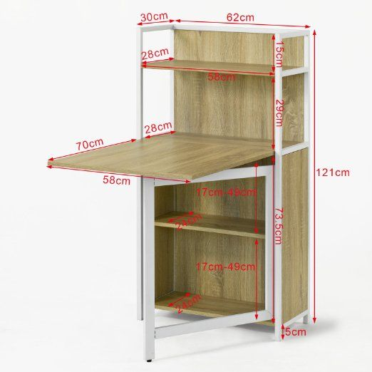 SoBuy FWT12-N Bureau enfant Table pliante, Armoire avec table