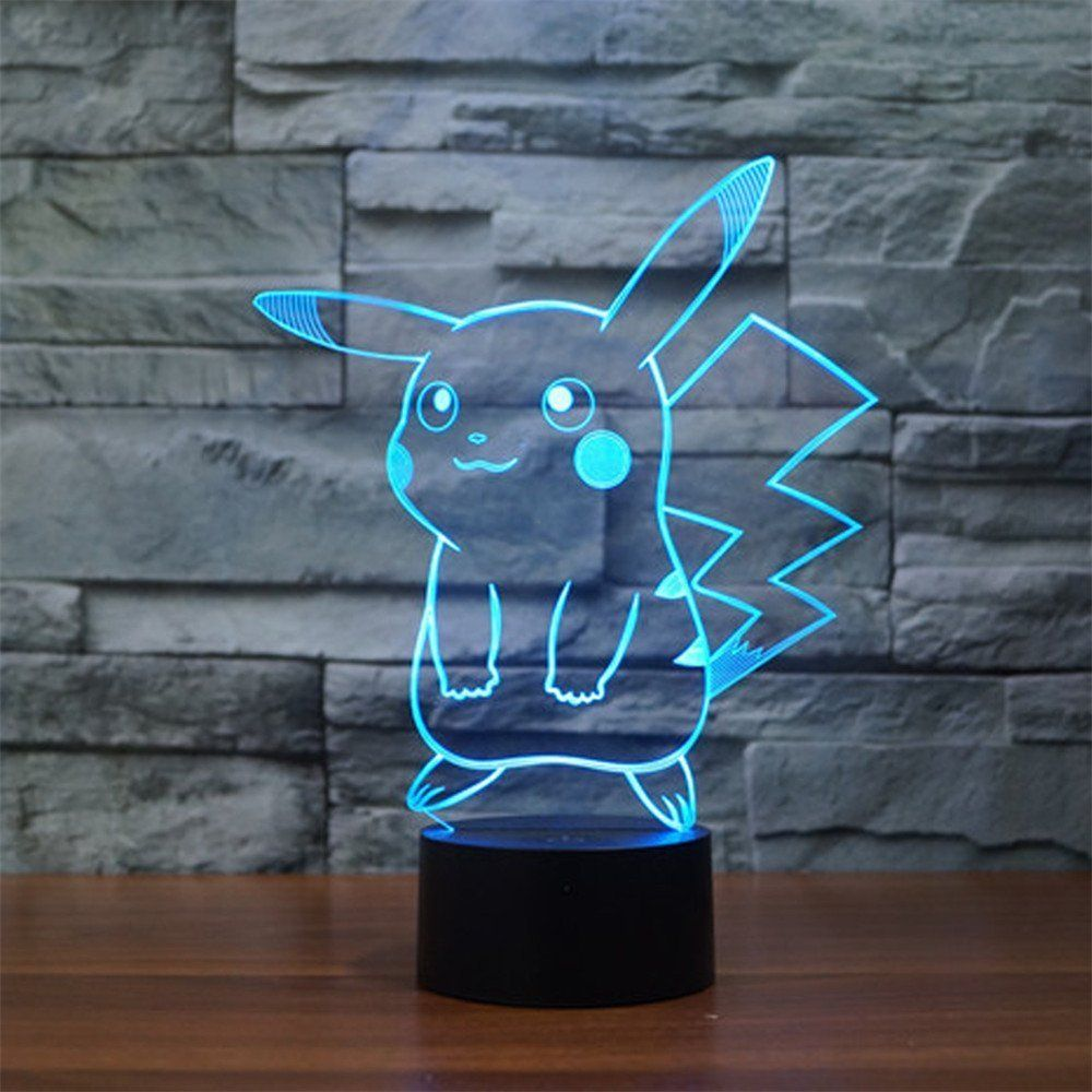 Pokemon Pikachu 3d Led Night Light Elstey 3d Optical Illusion Visual Lamp 7 Colors Touch Table Desk Lamp Amazon Com Lampe 3d Cadeaux Pokemon Pokemon