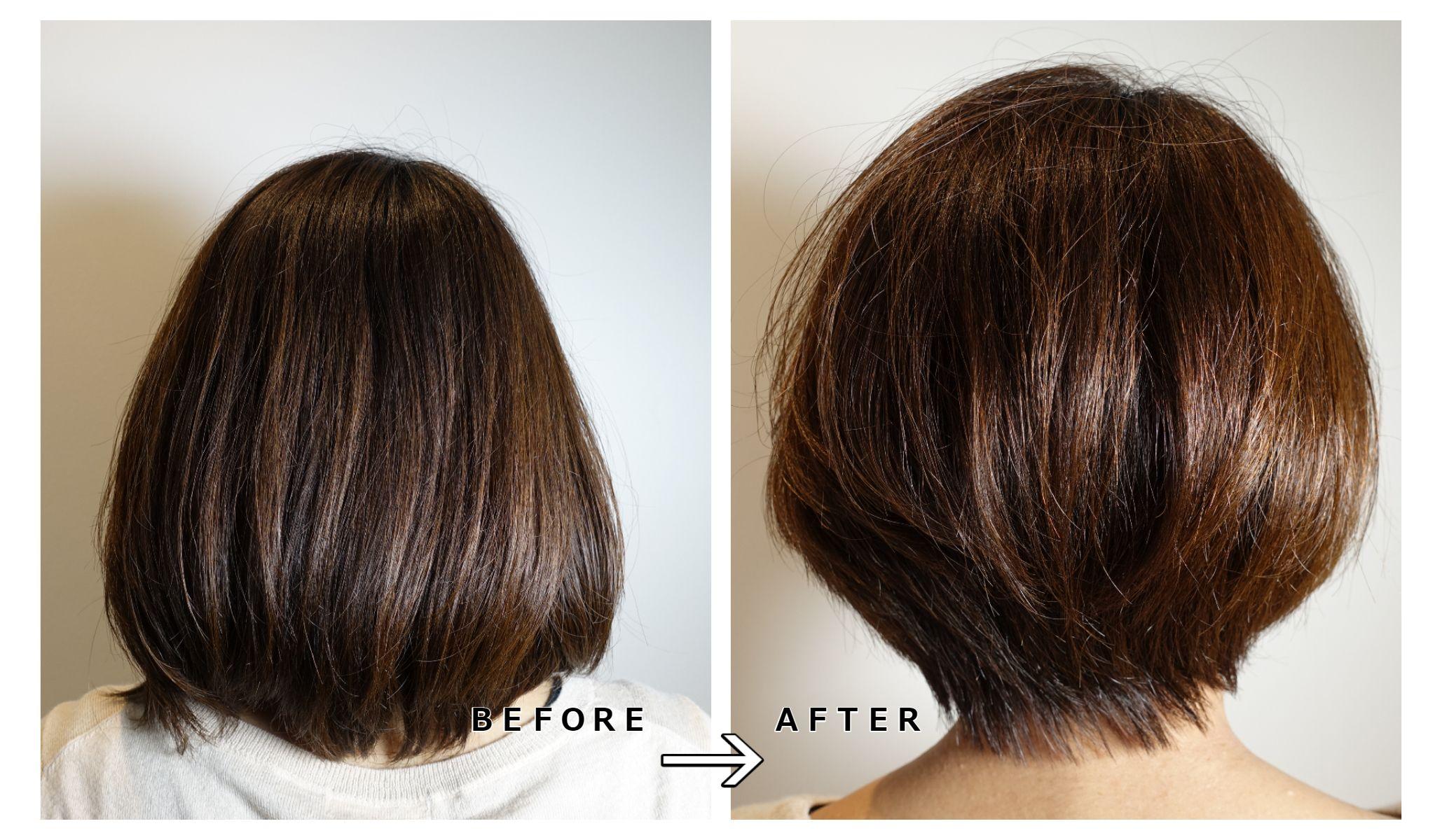 40代からのヘアスタイル くせ毛の髪型before After集で 好き が