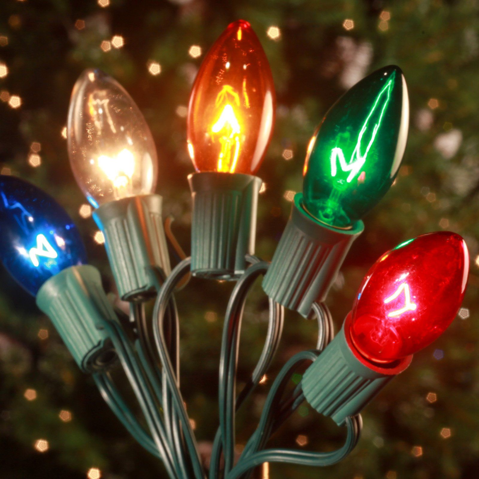 Brite Ideas 25 Bulb C9 Incandescent Transparent Light Set Multi Color Hanging Christmas Lights Multi Colored Christmas Lights Christmas Lights