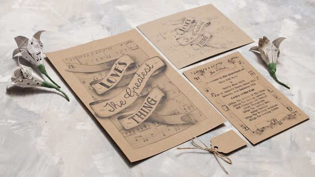 Vintage song lyric full invite suite table plans invitation vintage song lyric full invite suite 200 stopboris Image collections