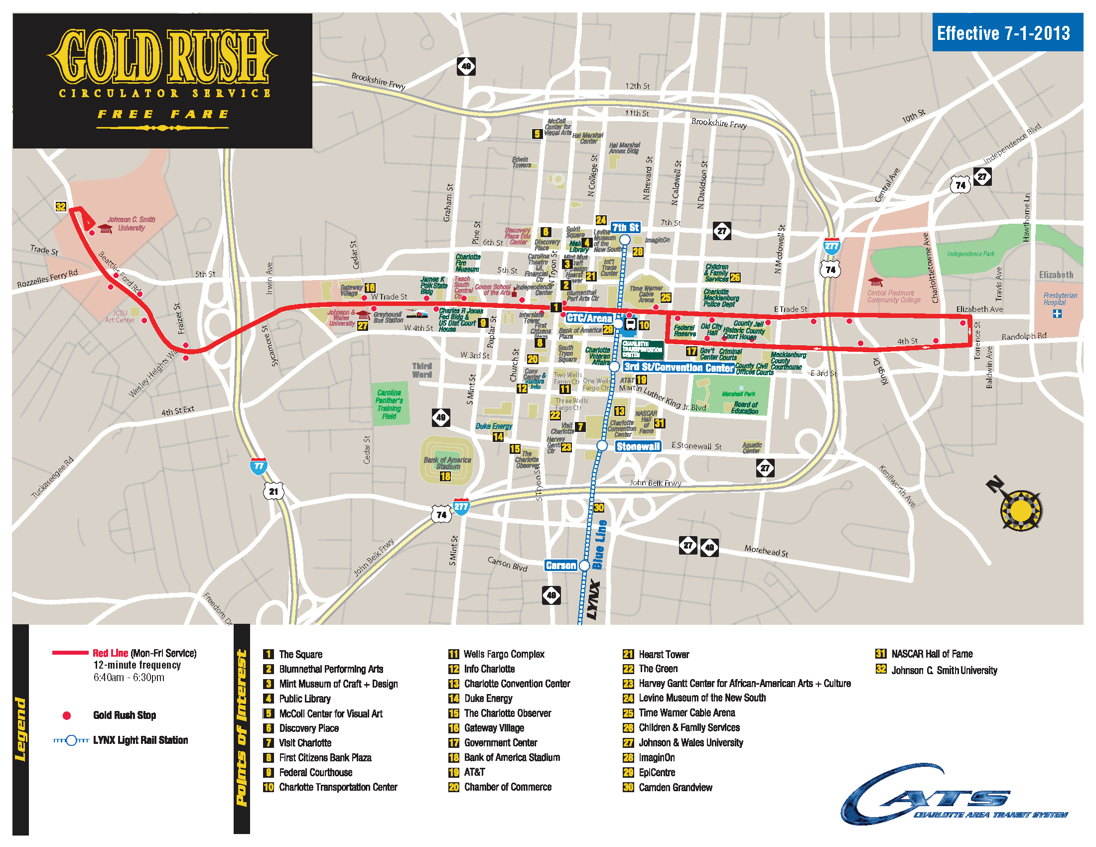 The Gold Rush - FREE TROLLEY SERVICE for UPTOWN CHARLOTTE - connect Charlotte Lynx Map on
