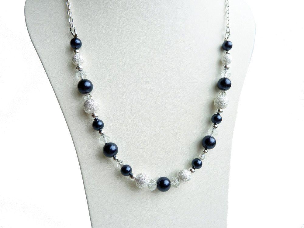 Navy Necklace Bridesmaid Jewelry Dark Blue Pearl