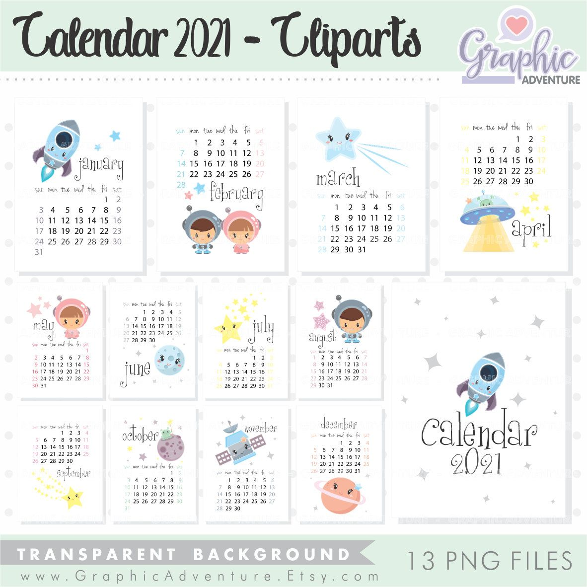 Calendar 2021 Calendar 2021 Clipart Commercial Use Month Etsy In 2020 Clip Art Printable Calendar Digital Alphabet