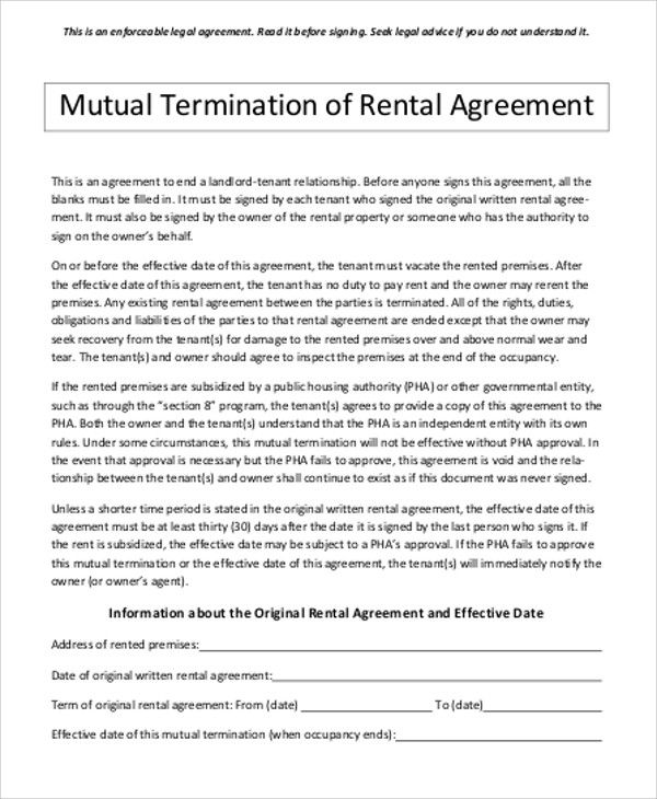 sample contract termination agreement examples word pdf right way - mutual agreement sample