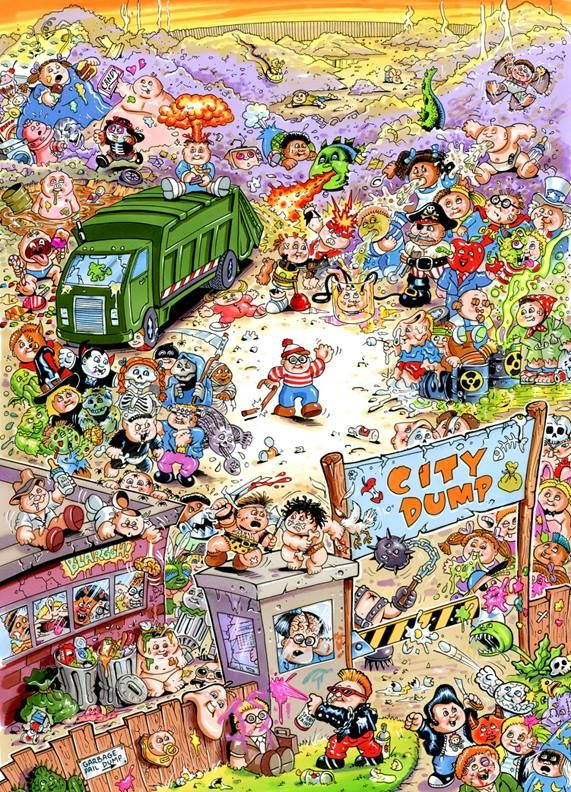 Joe Simko There S Waldo 92 Kids In This Shot Gpk Record For The Most Characters On 1 Card Garbage Pail Kids Cards Garbage Pail Kids Toy Collection