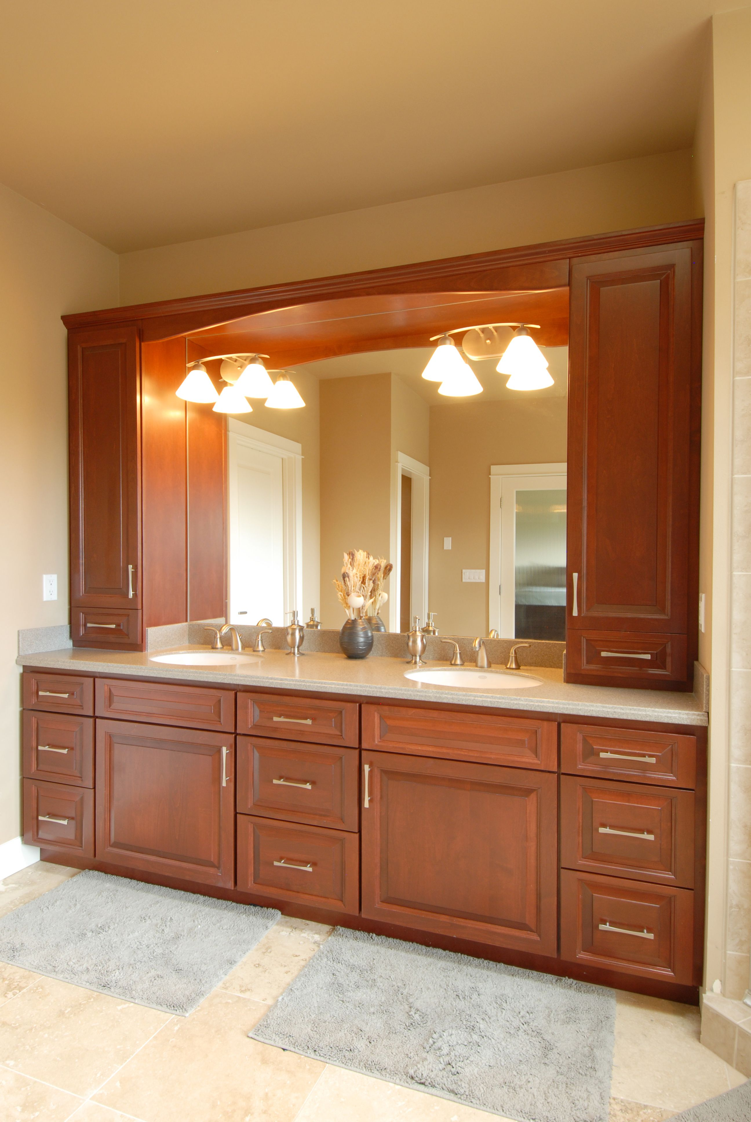 Master Bathroom With Double Vanity And Built In Storage Double Sink Bathroom