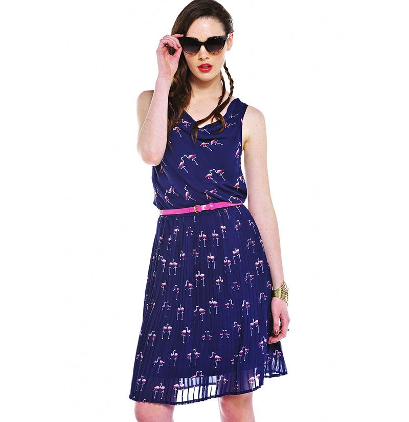 b73b389c5718ae Flamingo Midi Dress Front