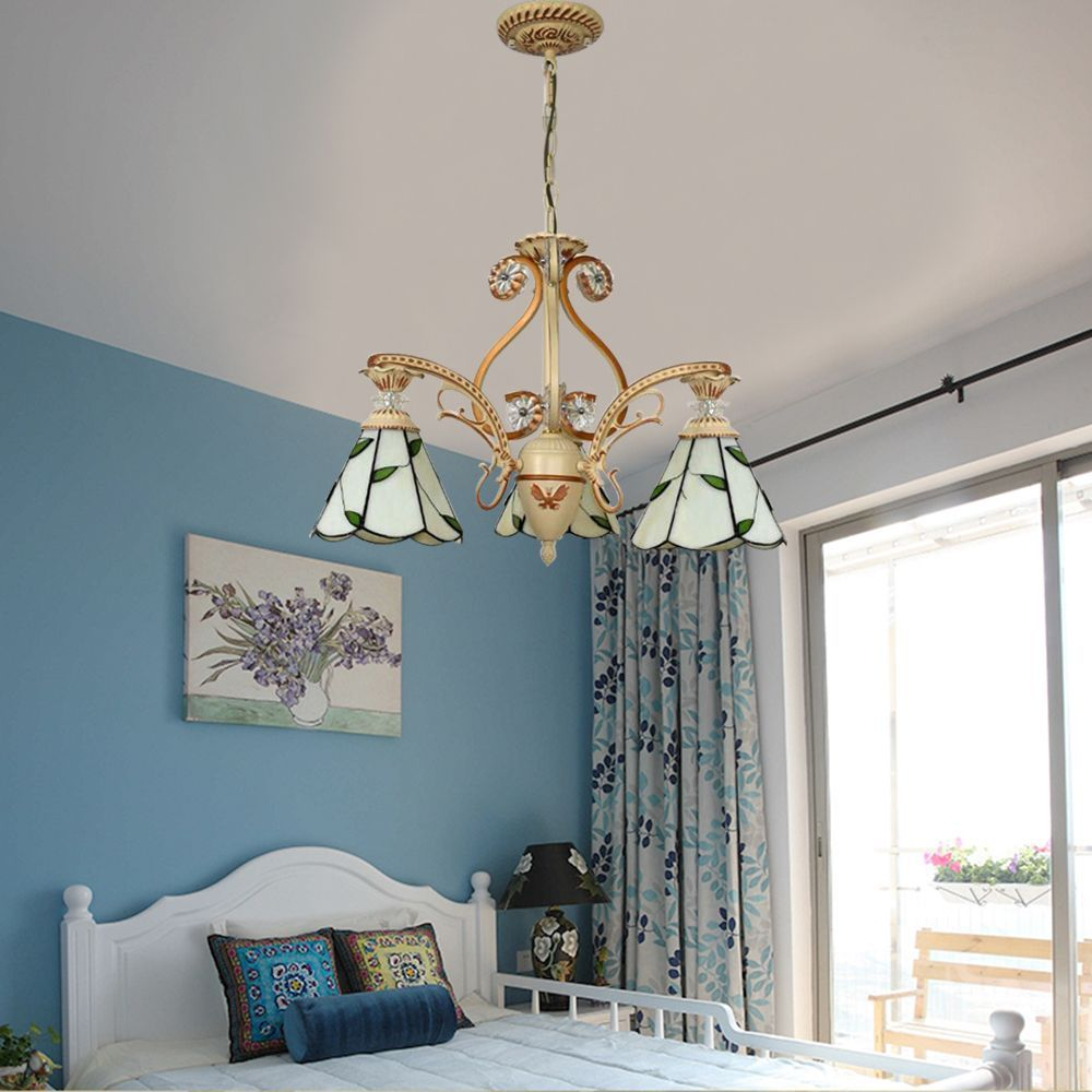 A Tiffany pendant lamp live on a bedroom. Every corner ...