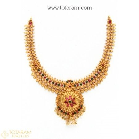 22 Karat Gold Necklace Temple Jewellery 235GN2271 Buy this