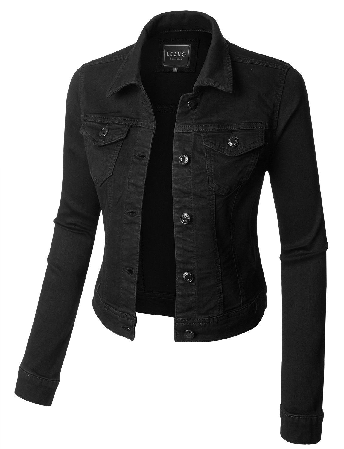 Womens classic long sleeve denim jean jacket with pockets