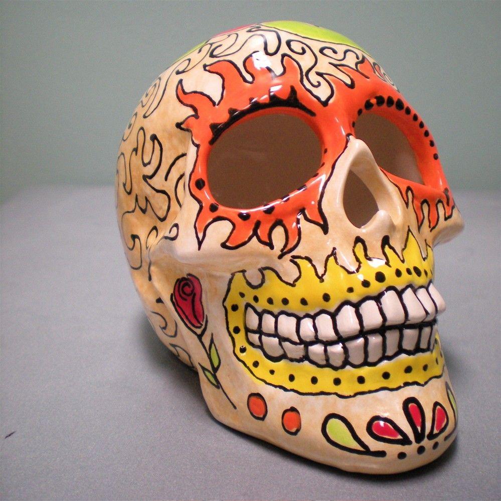 Dia De Los Muertos Dia De Los Muertos Ceramic Calavera Sugar Skull By Ofminedesign Sugar Skull Skull Handmade