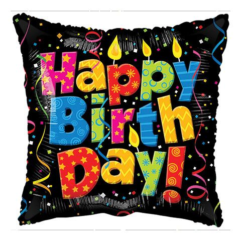 Bulk Happy Birthday Candle And Confetti Square Foil Balloons 18 In