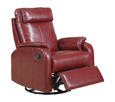 Monarch Specialties Padded Head and Arm Rest Swivel Rocker Recliner, Red