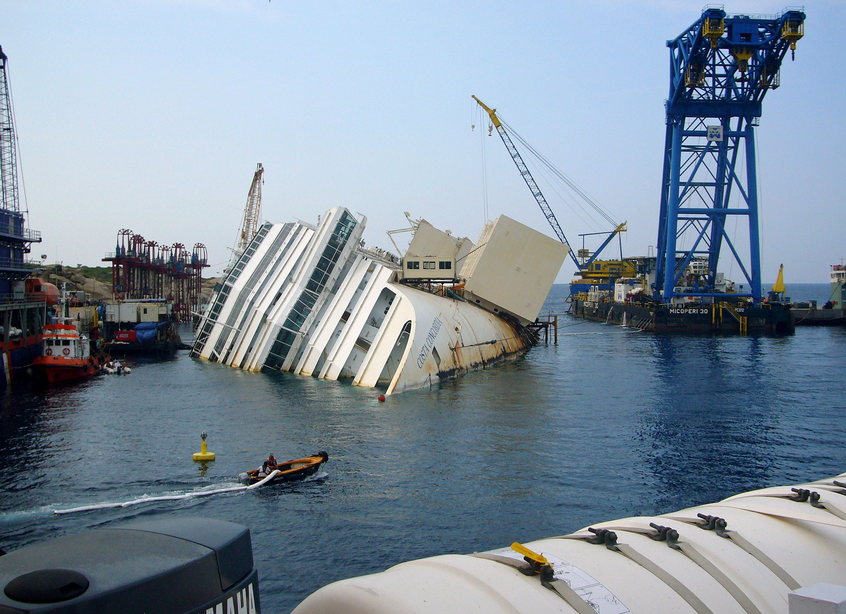 The Italian Cruise Ship Costa Concordia Capsized And Sank After Striking An Underwater Rock ...
