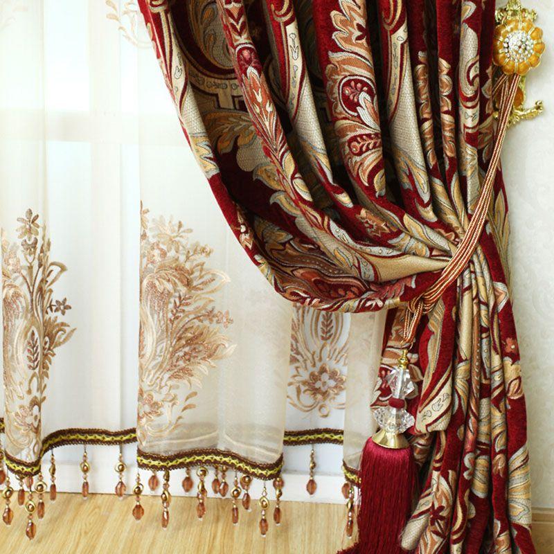 Vintage Gold Red Embroidery Leaf Elegant Curtains Elegant