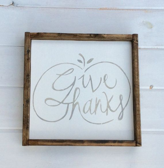 Fall Sign  Give Thanks Calligraphy with Pumpkin  Hand by GetSwank