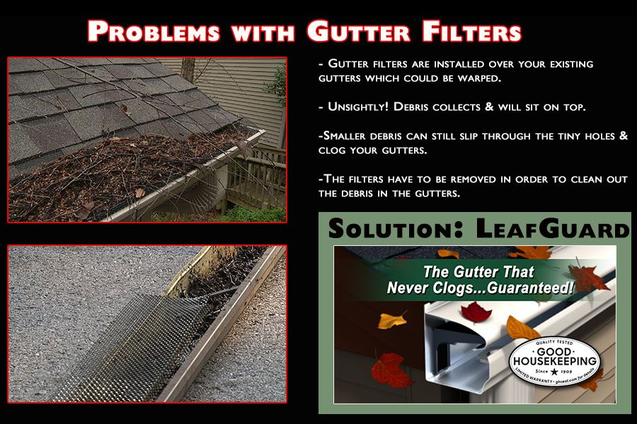 Filters Screens Toppers There Are Many Leaf Protection Options But There S Only One Leafguard The Co Gutter Protection Seamless Gutters Cleaning Gutters