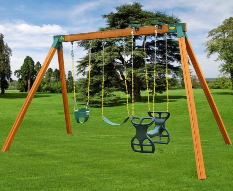 Diy Backyard Swing Set With Horse Glider Baby Swing And Swing Set