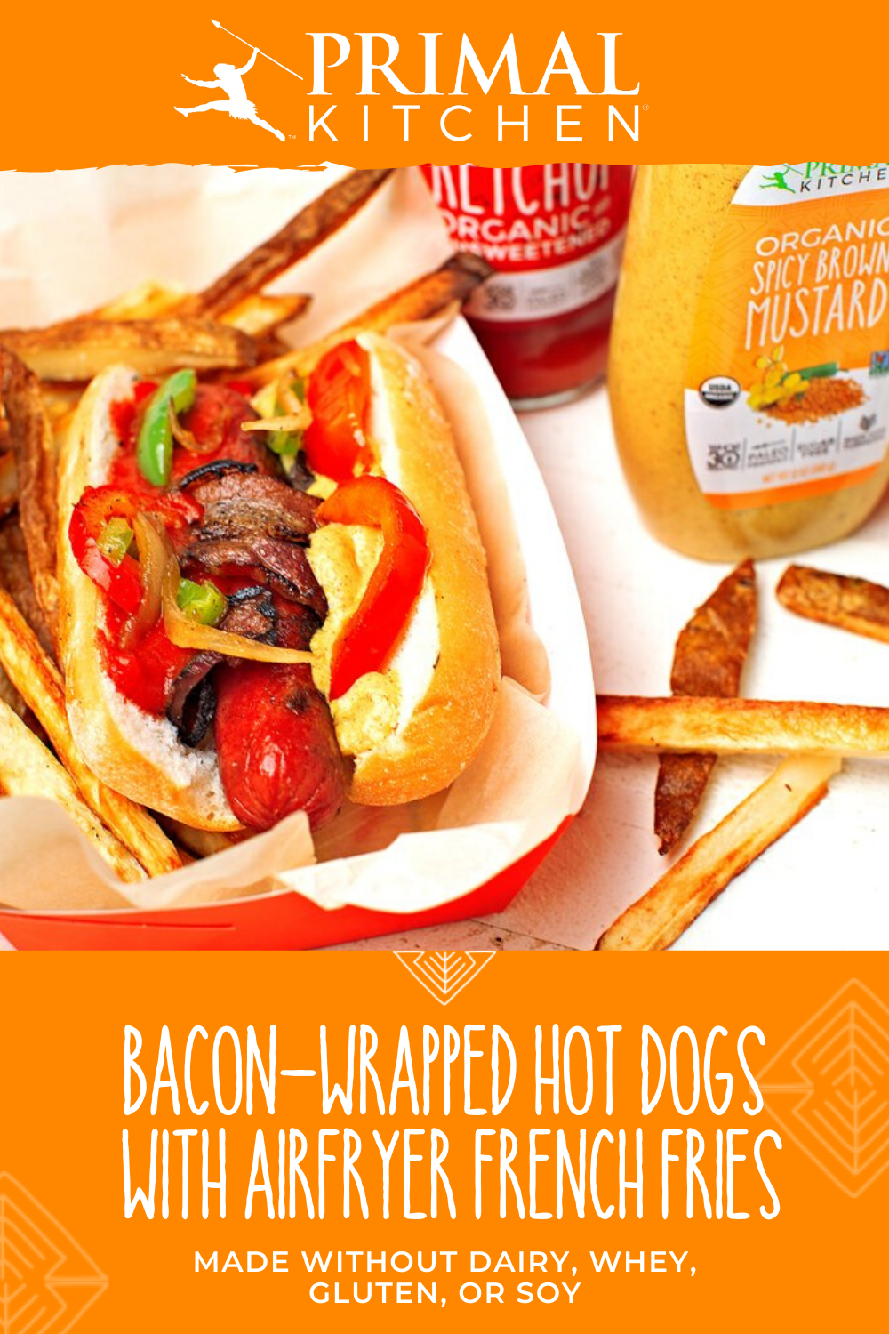 BaconWrapped Hot Dogs with AirFryer French Fries Bacon