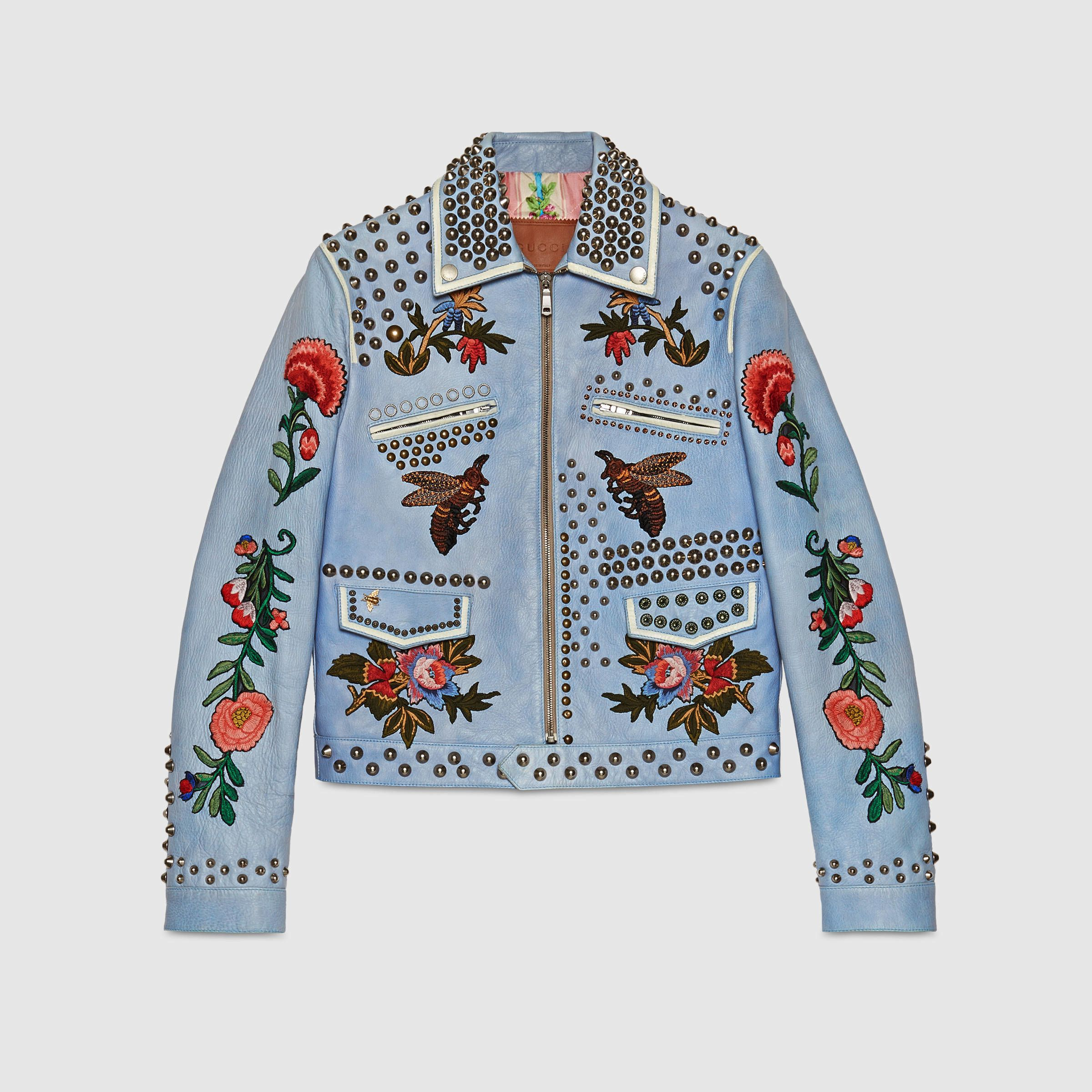 Gucci kingsnake and floral embroidered jacket - Blue