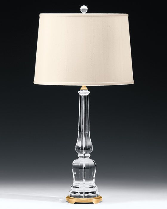 Crystal Lamps Solid Crystal Lamp With Antiqued Brass Trim Lamp