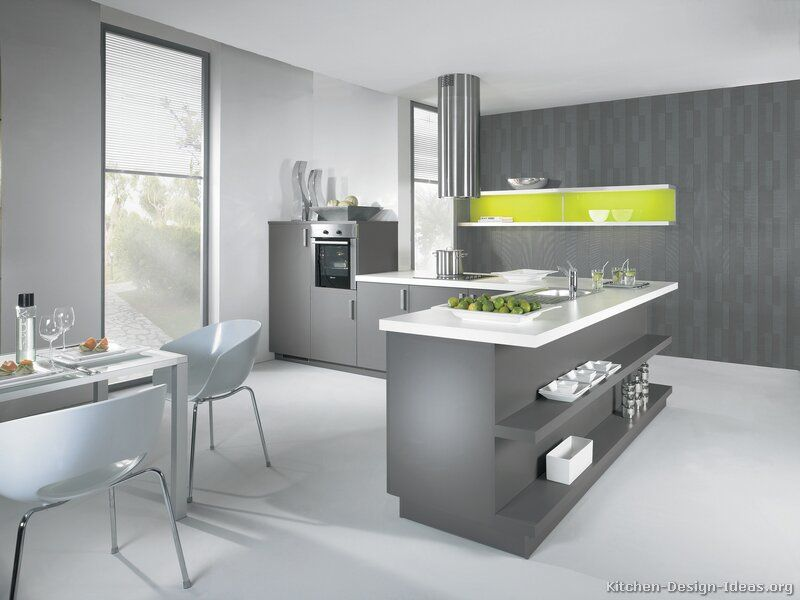 Modern Gray Kitchen Cabinets With White Laminate Top Splash Of Lime Green Accent Midcentury