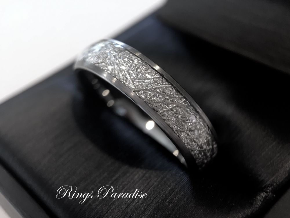 Meteorite Ring Wedding Bands Inlay Brushed Tungsten 6mm