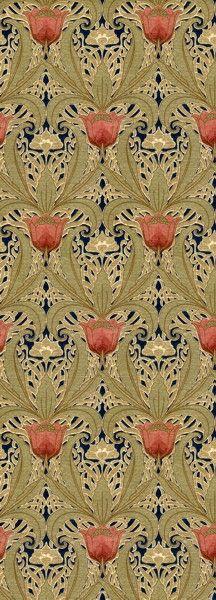 Art Nouveau Tulip Garden Wallpaper Ca 1890 1910 Late
