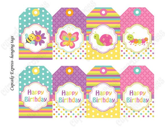 Instant download diy spring bugs birthday printable party hanging instant download diy spring bugs birthday printable party hanging tags butterfly ladybugs bees snail easter negle