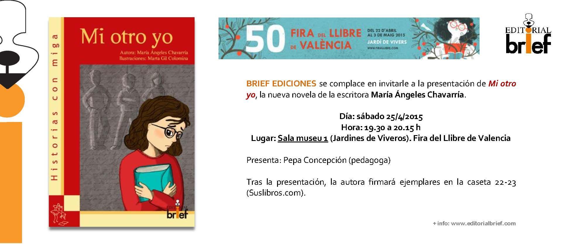 Presentación MI OTRO YO, una novela de María Ángeles Chavarría sobre el acoso escolar.