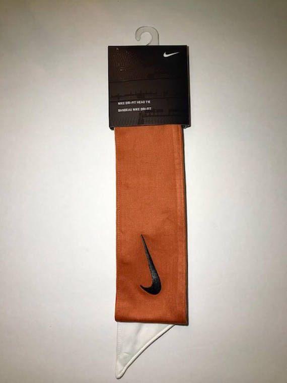 Burnt Orange Custom Nike Dri-Fit Head Tie Headband 2.0 White Nike Swoosh  Logo 23600c20608