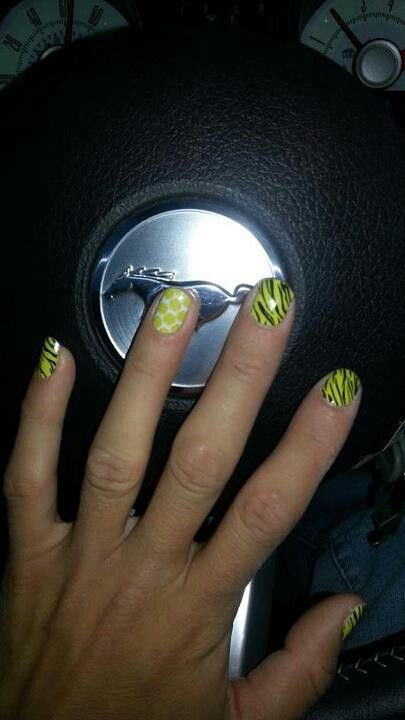 Yellow softballs & tigress nails http://wrapmynails2.jamberrynails.net/