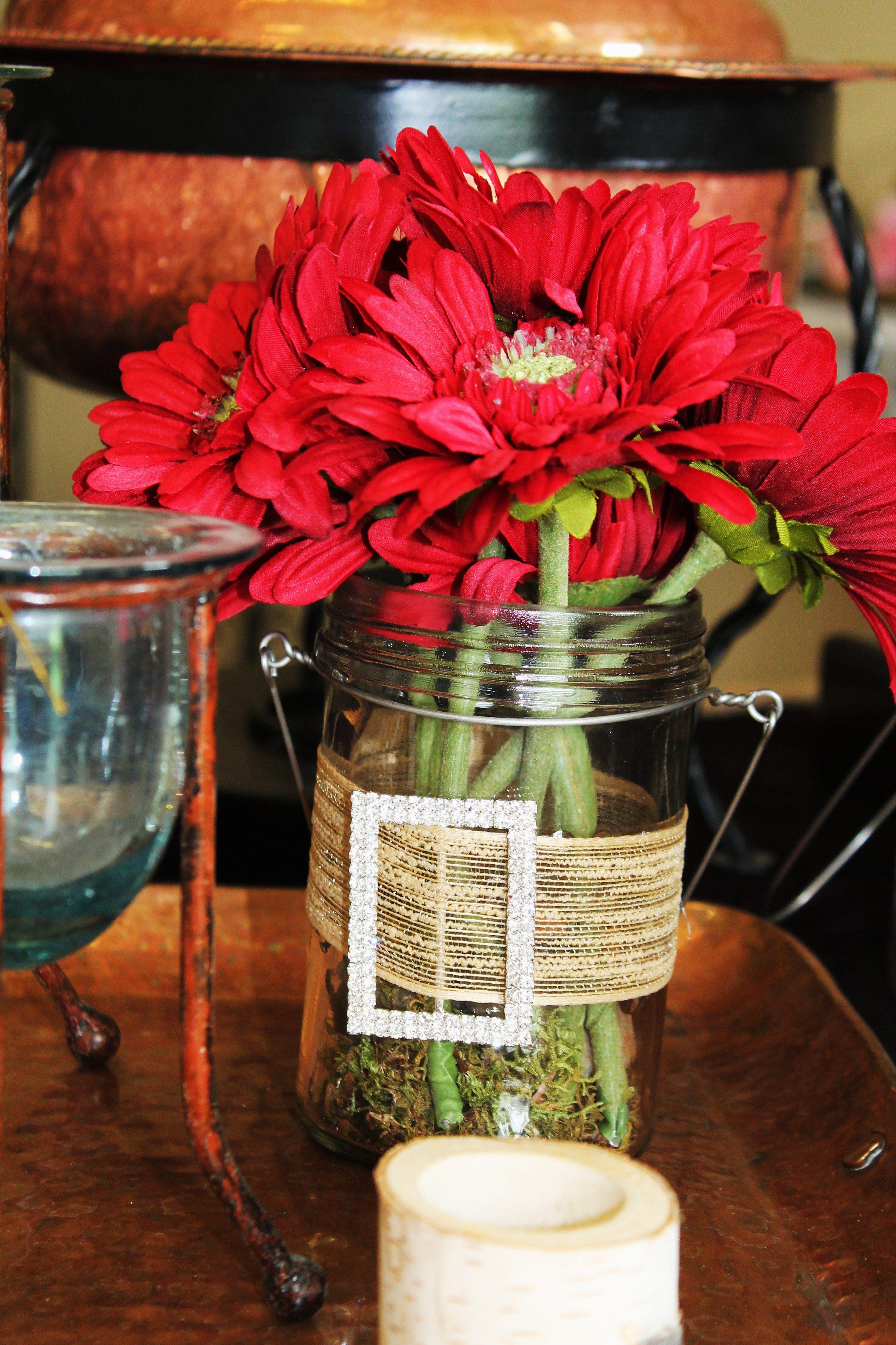 Shabby Chic Mason Jars With Burlap Ribbon And Rhinestone Buckles Jar Vase Mason Jars Burlap Ribbon