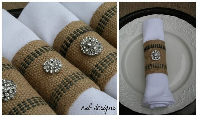 Burlap napkin rings with vintage brooches