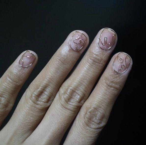 42 Chic Nail Art Ideas for Minimalists   Minimalist, Curved nails and  Manicure - 42 Chic Nail Art Ideas For Minimalists Minimalist, Curved Nails