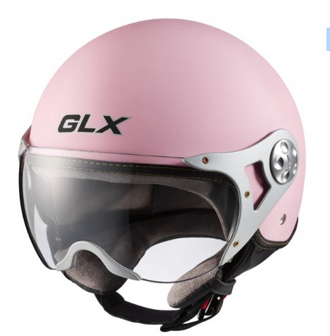 GLX Copter Style Open Face Pink Motorcycle Helmet For Women - Motorcycle helmet decals for women