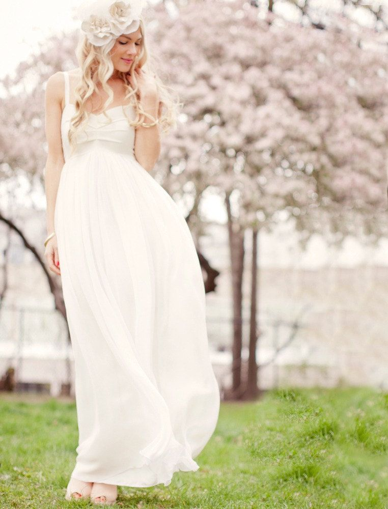 9238b8fb1f73 Marchesa: Ivory Empire Waist Full Skirt Bohemian Boho Hippie Wedding Dress.  $598.00, via Etsy.